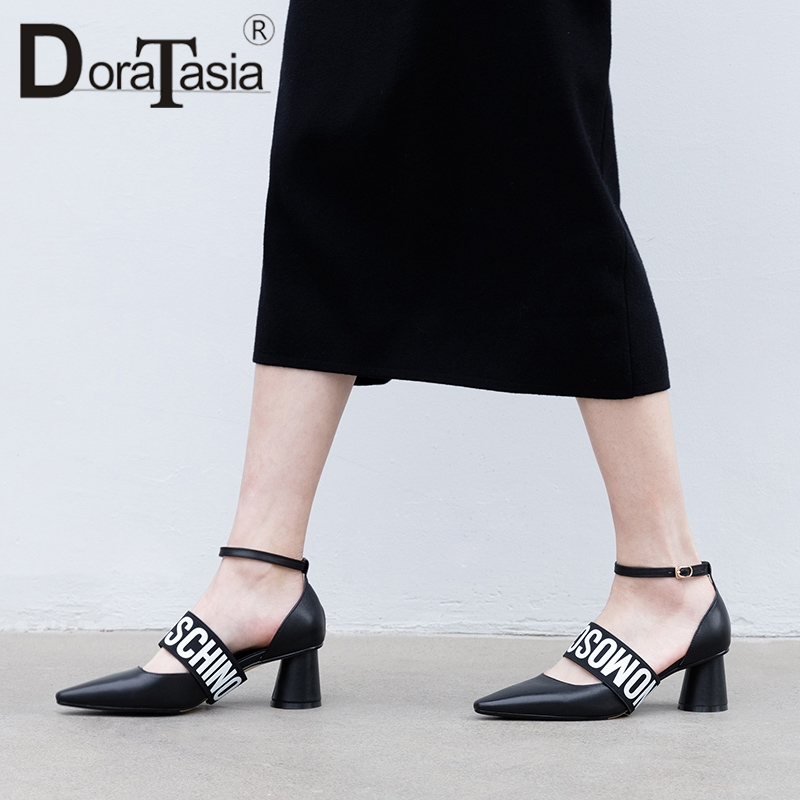 DORATASIA 2019 New Luxury women's Genuien Leather Ankle Strap Women Shoes Woman Casual Party Office Summer Sandals Female-in High Heels from Shoes    1