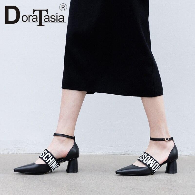 Doratasia 2019 새로운 럭셔리 여성 genuien 가죽 발목 스트랩 여성 신발 여성 캐주얼 파티 사무실 여름 샌들 여성-에서하이힐부터 신발 의  그룹 1