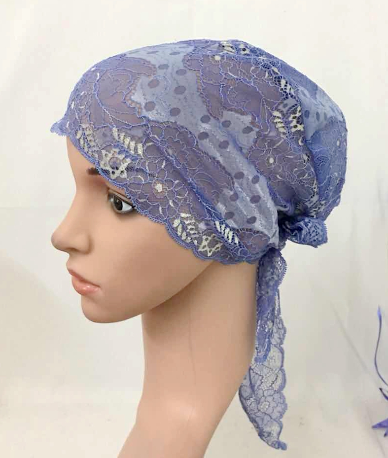 12 PCS Fashion Women Muslim Inner Cap  Lace Flower Hijab Islamic Headwear   Hat Wraps 8