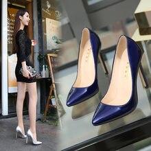 Moda Sexy Sapatos Único Profissional 11 Cm Super Salto Alto Mulheres Sapatos Stiletto Apontou Sapatos De Salto Alto Bombas de Vestido Simples E Elegante
