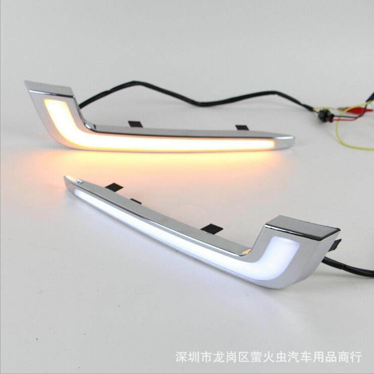 ФОТО Hireno Super-bright LED Daytime Running Light for Cadillac XTS 2013 2014 2015 Car LED DRL fog lamp 2PCS