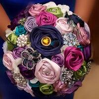 Purple grape brooch bouquet Peacock feather wedding bridal bouquets crystal Ribbon Rose style Bride 's Bouquet Bridesmaid decor