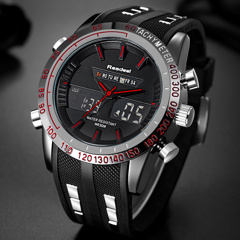 2017 Top Brand Luxury Men Watch Military 3ATM Dual Time LED Digital Analog Men Sports Watches Japan Quartz Man Digital Men Watch weide watches men luxury sports lcd digital alarm military watch nylon strap big dial 3atm analog led display men s quartz watch