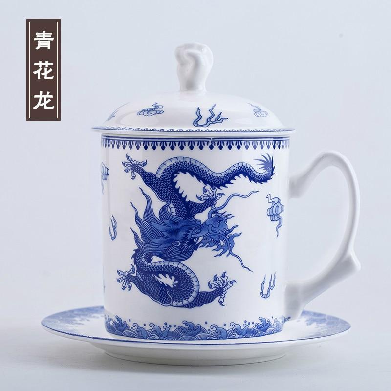 Tasses et soucoupes à thé en porcelaine de Jingdezhen chinois avec couvercle de poing 520 ml