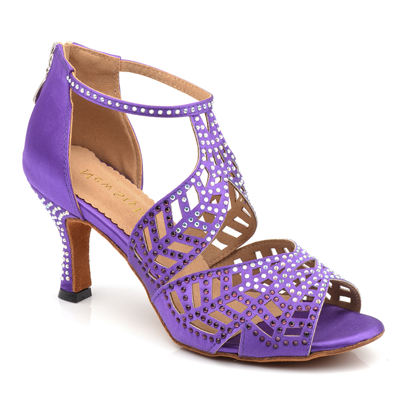 Professional 5 6 7.5 8.3 8.5 cm talon perles Samba Tango Salsa Latin chaussures de danse de salon femmes dames avec semelle en daim