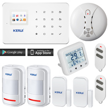 KERUI G18 English/Russian Voice GSM Autodial Home Security Alarm System+temperature and humidity Alarm Sensor Smoke Detector