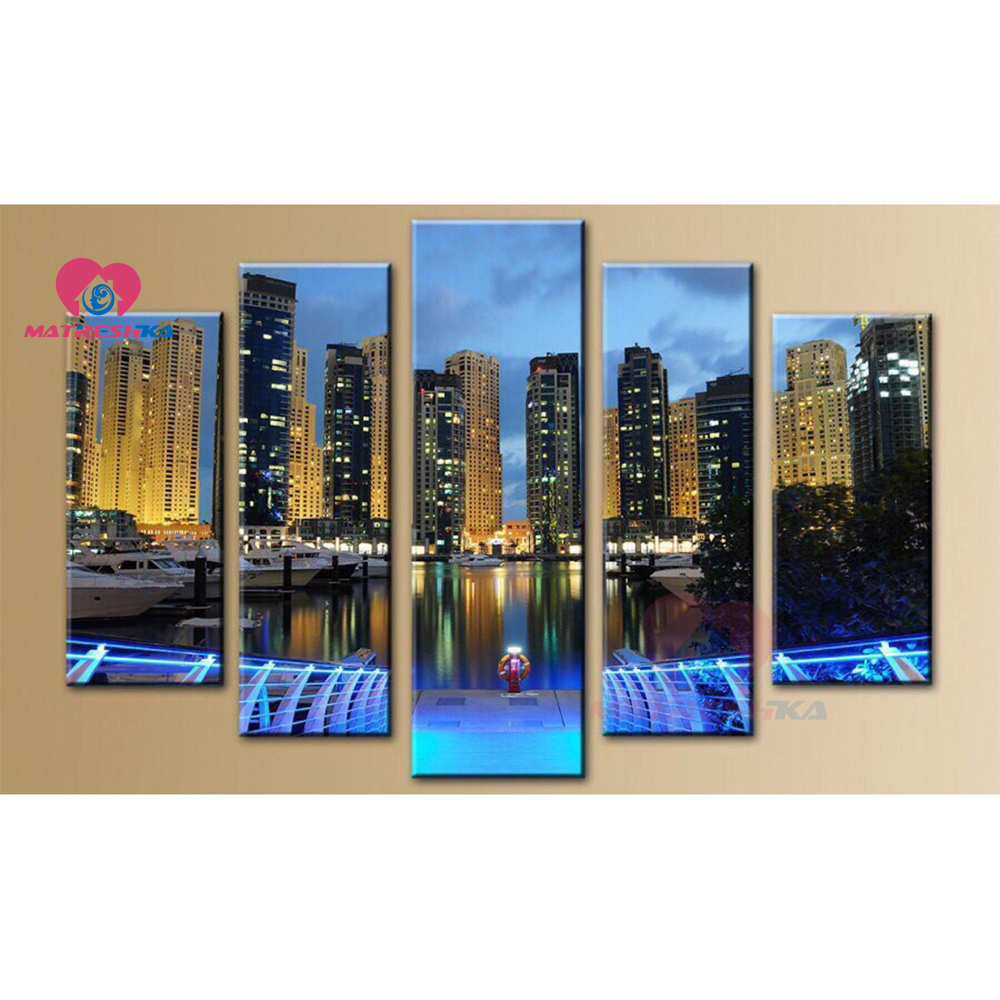 DIY Multi-pictures 5d Diamond painting accessories city landscape full drill Cross stitch wall art 5pcs Embroidery Home decorDIY Multi-pictures 5d Diamond painting accessories city landscape full drill Cross stitch wall art 5pcs Embroidery Home decor