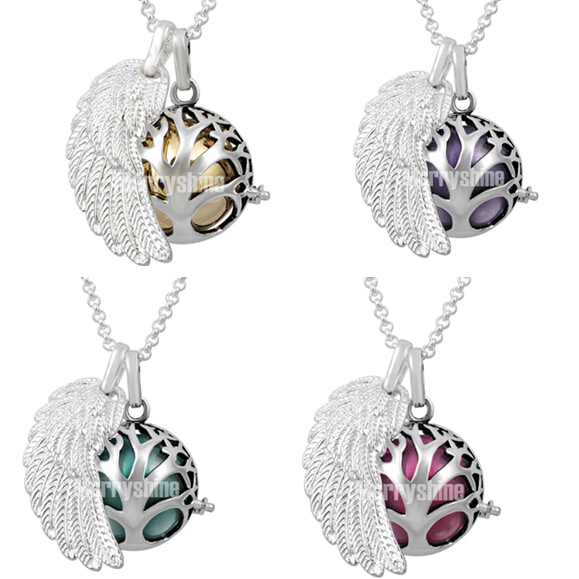 FH111 Top-selling Family Tree Design Locket Silver Angel Wing Pendant Pearl Cage Mexican Bola Pendants & Chain