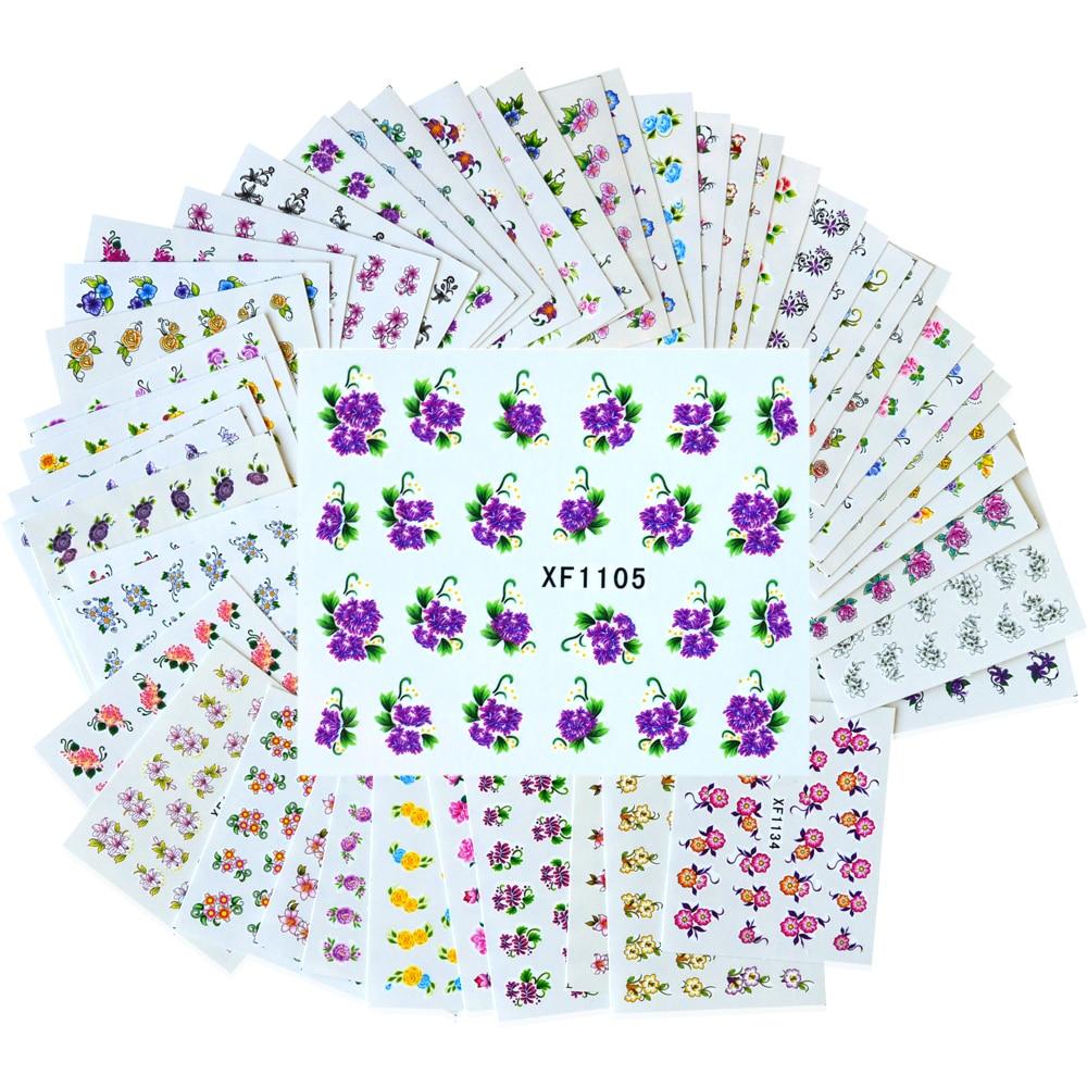 50 Sheets DIY Schönheit Blume Wasserzeichen Decals ...