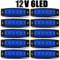 10x azul 12 V 24 V 6LED Bus Van Truck 6 LED Side Trailer marcador indicadores luzes Bar lâmpada