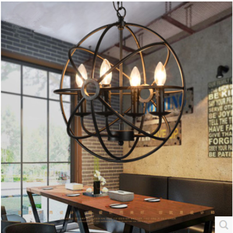 Edison Industrial style lighting fixtures Black Pendant Lamp Vintage Cage Hanging Light For Home Restaurant Loft 4 Bulbs new loft vintage iron pendant light industrial lighting glass guard design bar cafe restaurant cage pendant lamp hanging lights