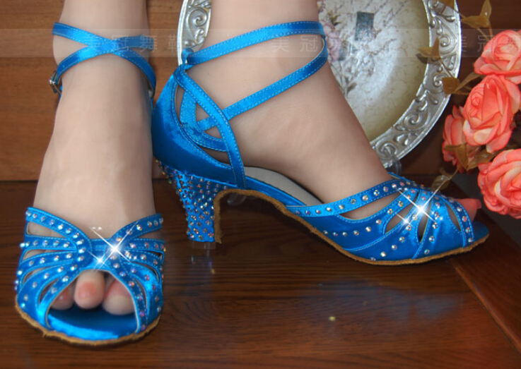 Wholesale Ladies Blue Satin Rhinestone Ballroom font b Dancing b font Shoes Latin SALSA Shoes for