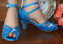 Wholesale Ladies Blue Satin Rhinestone  Ballroom Dancing Shoes Latin SALSA Shoes for women Tango Shoes