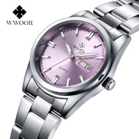 WWOOR Watches Women Luxury Brand Full Stainless Steel Business Women Wrist Watch Date Week Luminous Analog