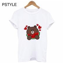 Original Pstyle Brand T Shirt for Women Harajuku Caroon Bear/Dog Watermelon Print Tshirt Summer Shirt Femme Girls Tee Tops блуза caroon