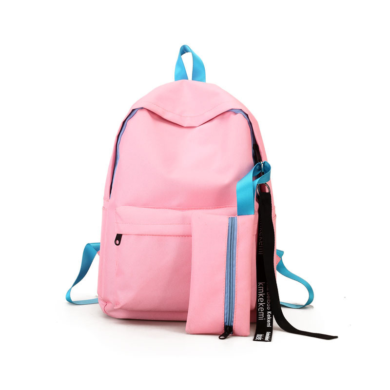 Simple Solid Backpacks For Women Famous Brand Composite Bags 2 Pcs/set Schoolbag Teenager Student Bookbag Travel Laptop Bag