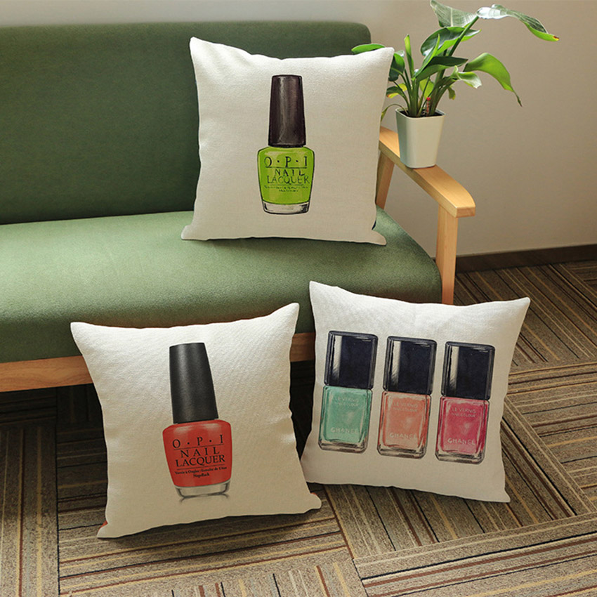 Delightful Fashion Nail Color Bottle Print Sofa Home Decorative Cushion Cotton Linen  Square Outdoor Chair Back Pillows