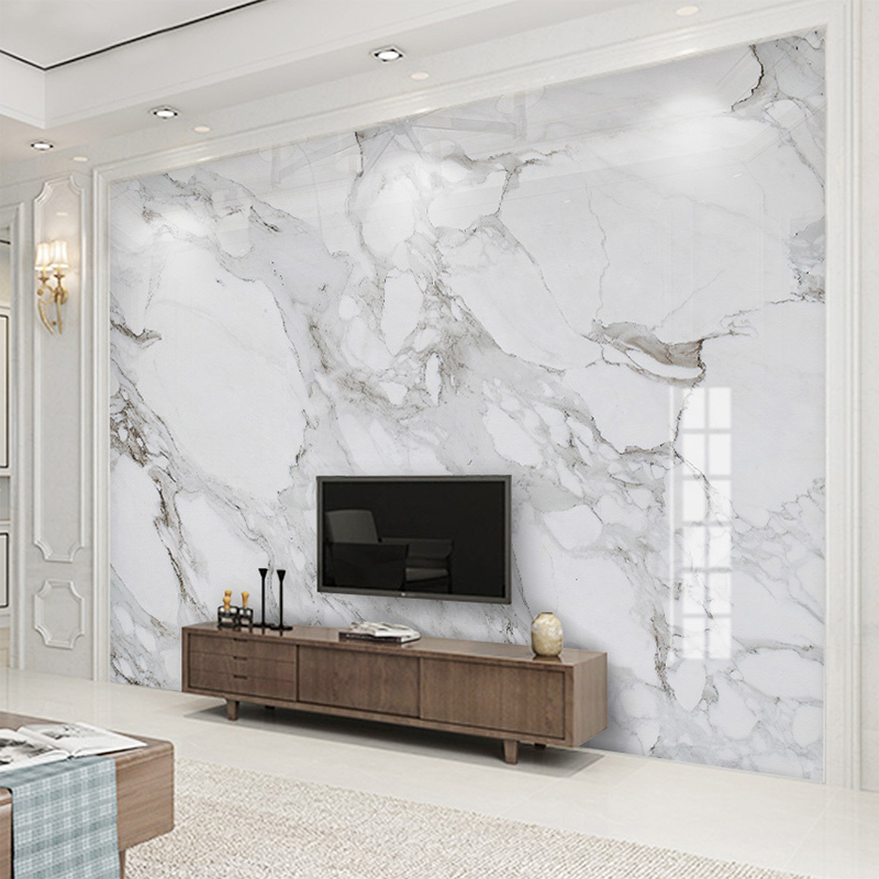 Custom 3d Wall Mural Wallpaper High Definition Sir White Marble Wall Cloth Living Room Sofa Tv Background Wall Home Decor Fresco