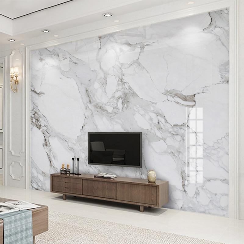 Custom 3D Wall Mural Wallpaper High Definition Sir White Marble Wall Cloth Living Room Sofa TV Background Wall Home Decor Fresco