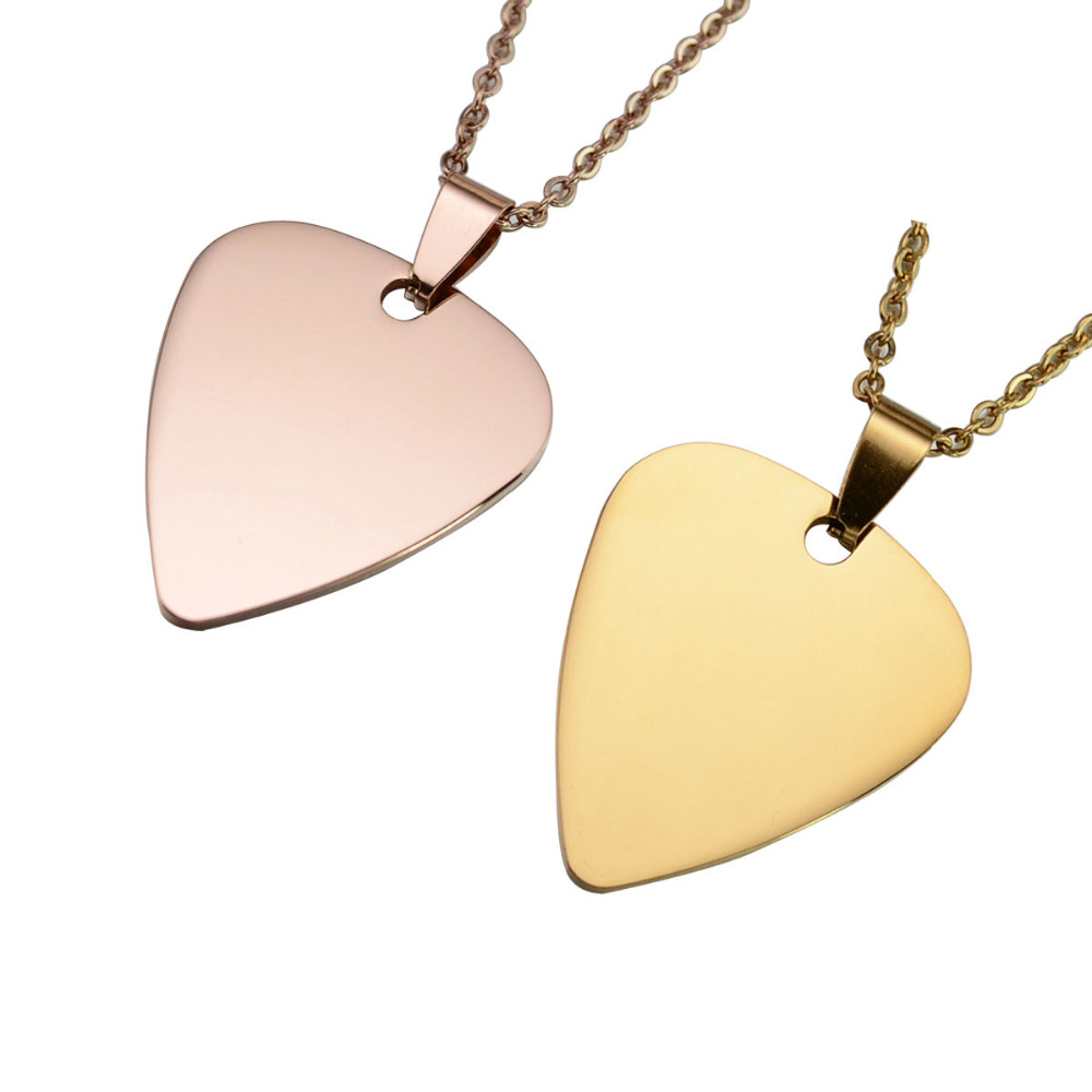 10pcs lot silver gold rose gold tone stainless steel guitar pick 10pcs lot silver gold rose gold tone stainless steel guitar pick blank dog tag charm pendant w ss chain 2460cm in pendant necklaces from jewelry mozeypictures Choice Image
