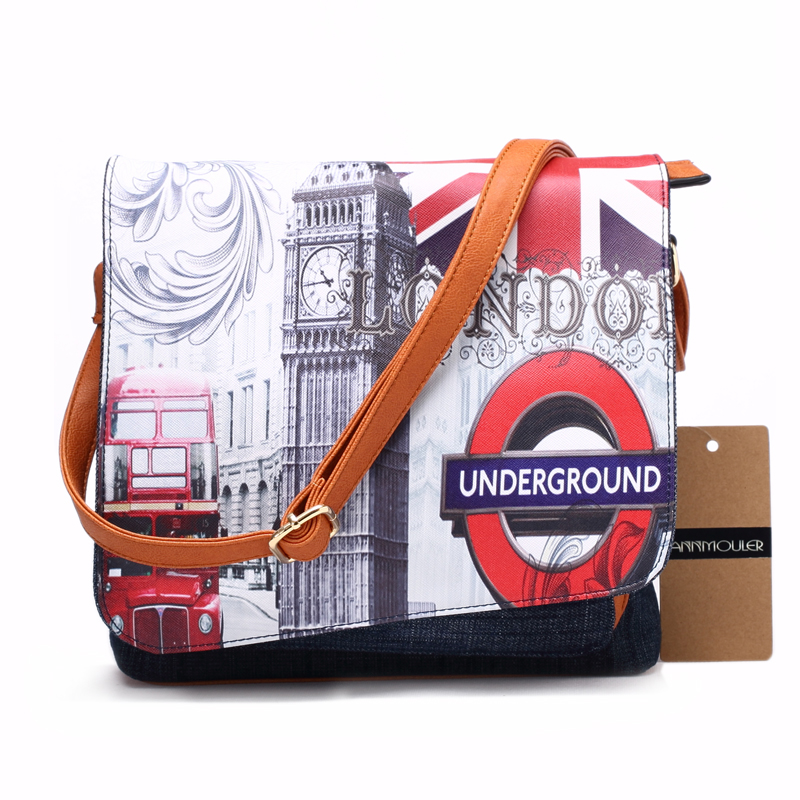 Bolsa Feminina Vintage London Style Denim Shoulder Bag Patchwork - Borse