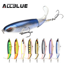ALLBLUE New Whopper Popper Topwater Fishing Lure 38g 13cm Artificial Bait Hard Fishing Plopper Soft Rotating Tail Fishing Tackle