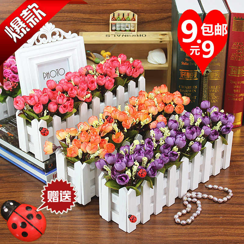The  pot  set wooden fence decorative floral silk     room table flower horse decoration