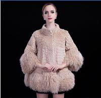 2016 Winter Warm Women Real Fur Jackets Fashion Beach Wool Rabbit Hair Seven Splicing Sleeve Long Female Thin Fur Cloak Coat