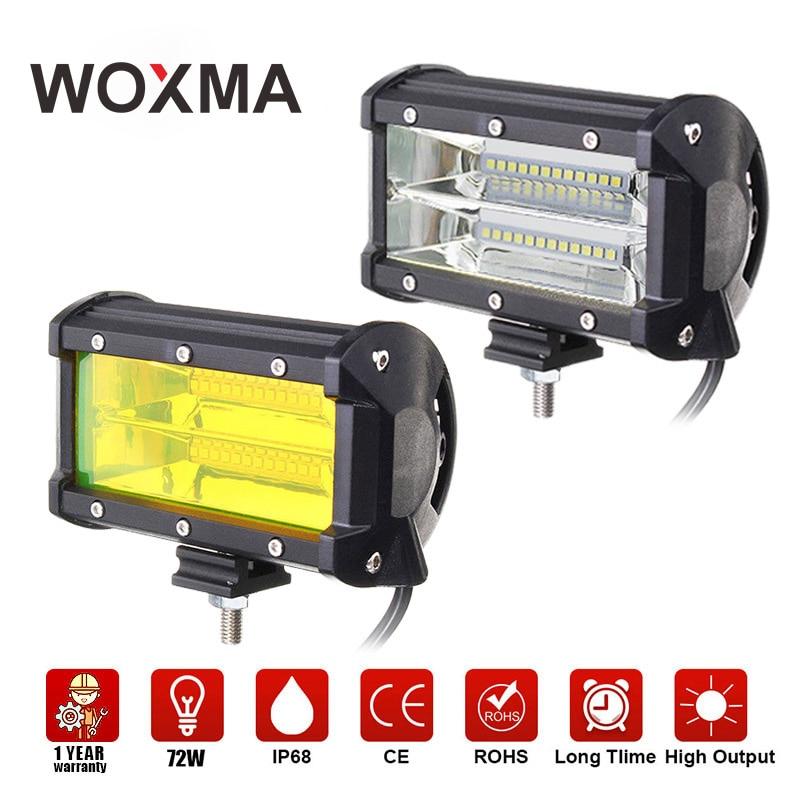 все цены на WOXMA LED Work Light Bar 72W 12V 4x4 Work Led Offroad 5inch Motorbike Driving Headlight Yellow led For Truck Car Styling SUV ATV онлайн