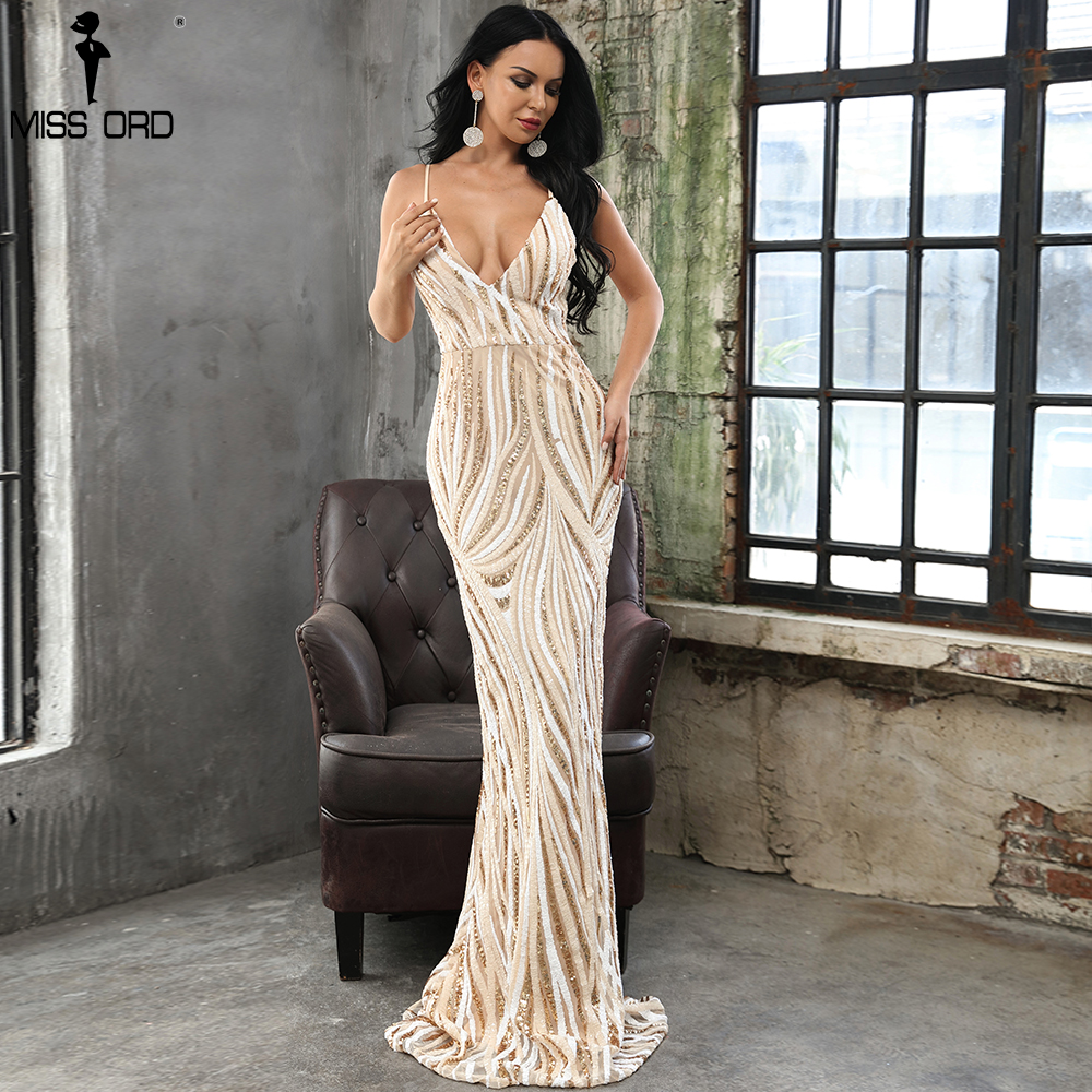 Missord 2019 Sexy gracieuse col en V hors épaule Sequin robes femme Maxi robe de soirée Vestidos FT8927-1