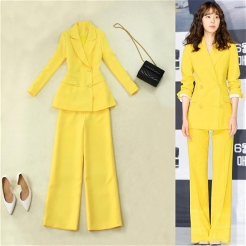 f790106a8 De Diseños Pantalones Ol 2 Amarillo Oficina Señoras Sets Traje Uniforme  Formal Desgaste 1 Con Chaqueta Mujeres Elegante Unidades ...