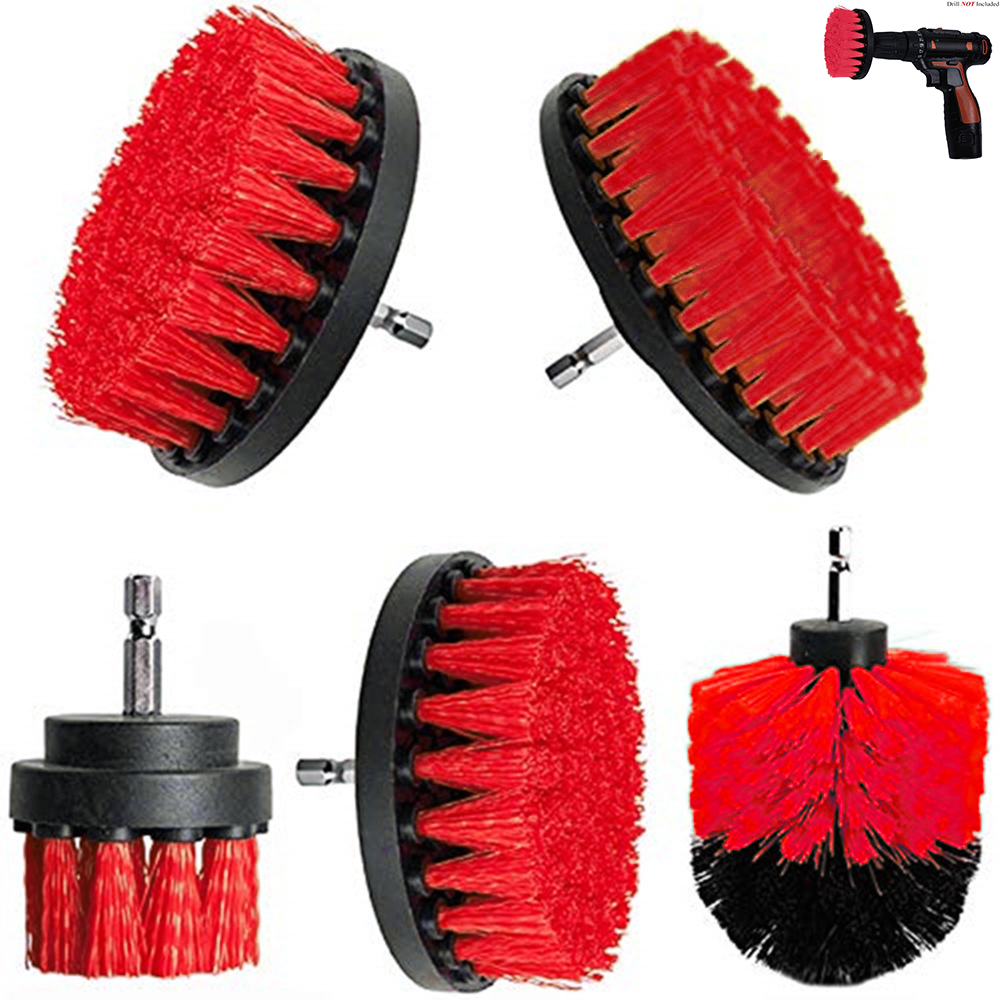 2 3.5 4 5 Inch Solid  Hollow Drill Power Scrub Clean Brush For Leather Plastic Wooden Furniture  Cleaning Power Scrub, Red