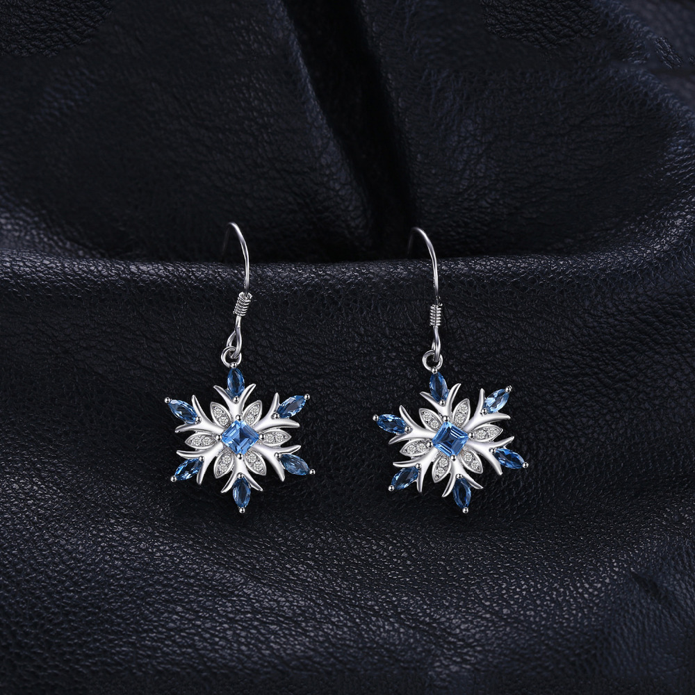 Jewelrypalace Snowflake 1,4ct Genuine Swiss Blue Topaz Dangle - Wykwintna biżuteria - Zdjęcie 2