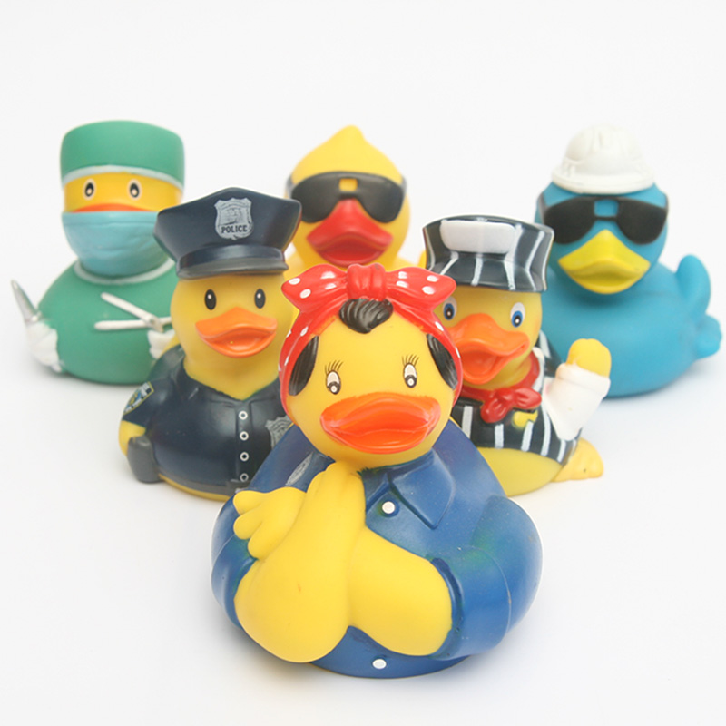 5pcs childer piay with water toy duck the police office the duck/the doctor duck/sunglasses duck thechildren swim in the summer