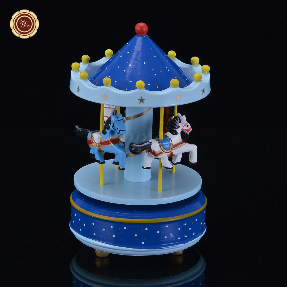 Wooden craft boxes to decorate - Wr 4 Horses Merry Go Round Music Box Christmas Birthday Gift Carousel Music Box For Home Crafts Ornaments Wedding Decoration