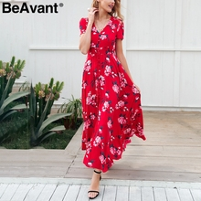BeAvant Spring elegant floral print long dress Women v neck boho maxi beach dress Summer 2018 short sleeve button dress vestidos