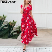 BeAvant Spring elegant floral print long dress Women v neck boho maxi beach dress Summer 2018 short sleeve button dress vestidos