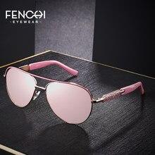 FENCHI-gafas de sol azules de color rosa para mujer, anteojos femeninos de marca de diseñador, montura de oro rosa