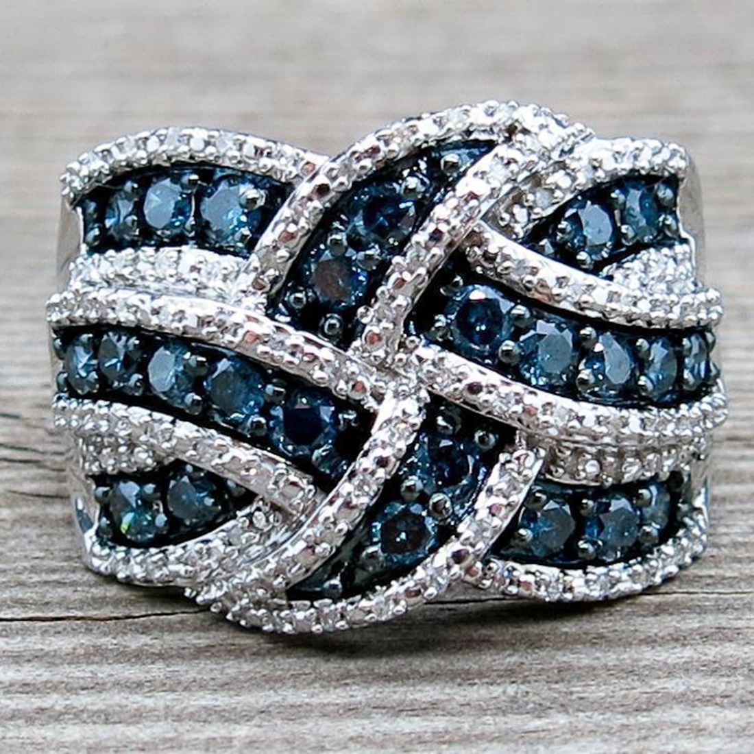 Engagement Rings On Sale Newcastle: Hot Sale Blue Zircon Stone Band 925 Sterling Silver Big