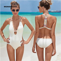 WONSHCORA Black White One Piece Swimsuit Vest Style Bikinis Women S Swimming Suit Sexy Women Bikini