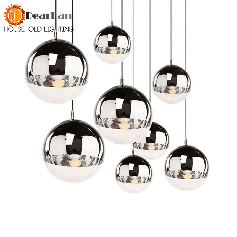 Attractive Copper/Sliver Glass Shade Silver Inside Mirror Pendant Light E27 LED Pendant Lamp Glass Ball Indoor Living Room Lamps