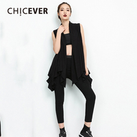 CHICEVER 2018 Summer Black Women S Vest Turn Down Collar Sleeveless Irregular Coat Female Personality Casual