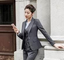 e72c7cad72ea 2 pezzo Nero Vestito con pantaloni Eleganti Per Donna Ufficio OL Uniforme  Disegni Donne elegante di