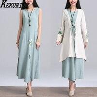 KEKURILY women dress suits cotton linen cardigan 2 piece long floral kimonon vintage elegant party dresses retro Chinese style
