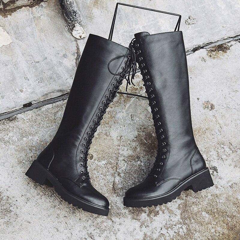Prova Perfetto grande taille 43 bottes à lacets au genou femmes en cuir véritable mode blanc talon carré en caoutchouc Botas femme chaussures-in Bottes hautes from Chaussures    2