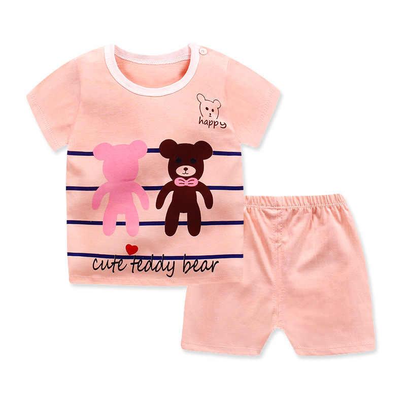 Новинка 2019 года, летние комплекты для детей хлопковый комплект одежды с короткими рукавами для малышей, боди для маленьких мальчиков и девочек комплект детской одежды с героями мультфильмов