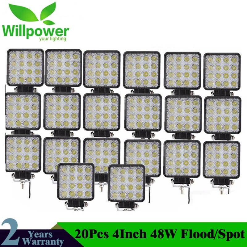 20Pcs 4inch 48W Led Work Light Lamp Car 4x4 ATV LED Working Lights Truck 12V Driving