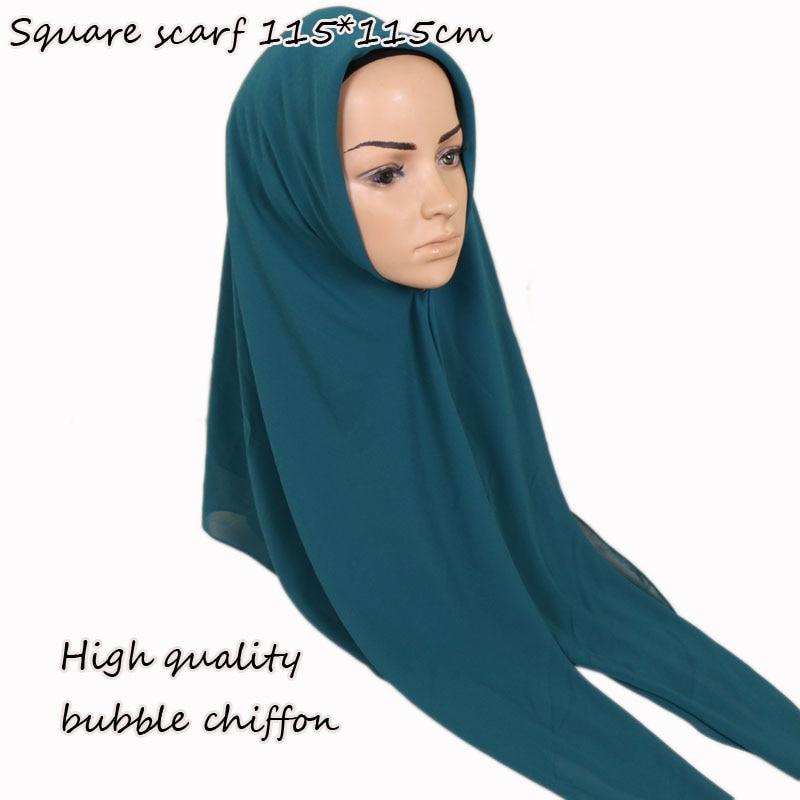 Square Bubble Chiffon Shawl Women's Head Scarf Muslim Popular Kerchief Hijab  Plain Solid Color Scarves 38 Colors Size 115*115cm