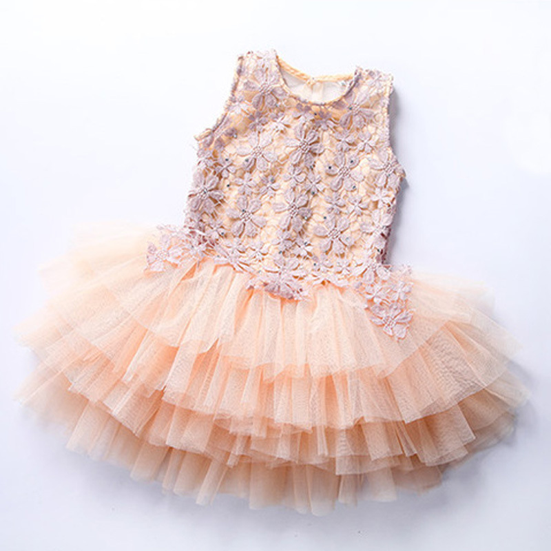 Princess Baby Girls Dress Summer 2017 Princess Girls Tutu Dress Toddler Party Sleeveless Lace Flower Dress Kids Clothes vestido ems dhl free shipping toddler little girl s 2017 princess ruffles layers sleeveless lace dress summer style suspender
