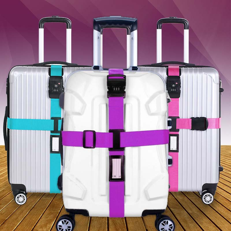 Luggage Strap Cross Belt Packing Adjustable Travel Suitcase Nylon 3 Digits Password Lock Buckle Strap Baggage Belts  WML